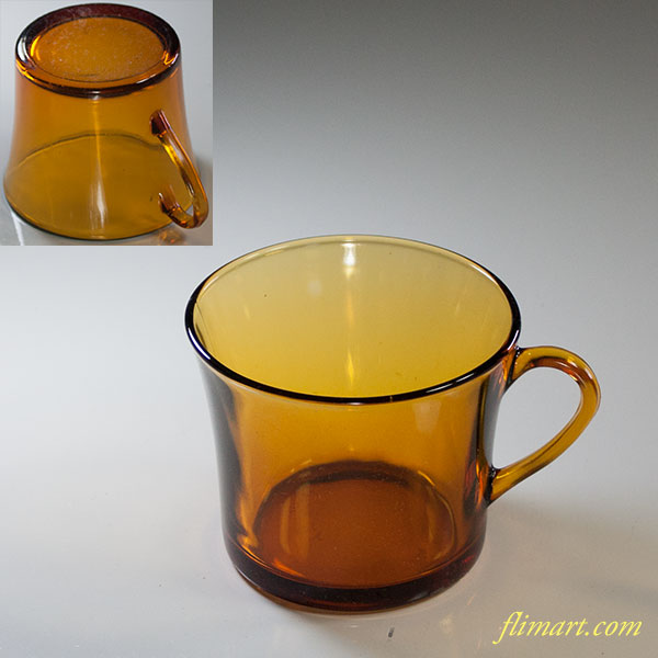 DURALEXデュラレックスアンバー飴色ガラスカップ