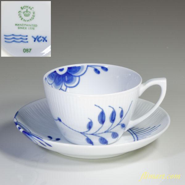 ロイヤルコペンハーゲンブルーフルーテッドメガカップ&ソーサー