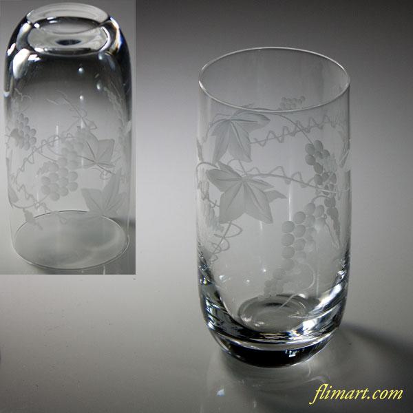 葡萄カットガラスコップT1825