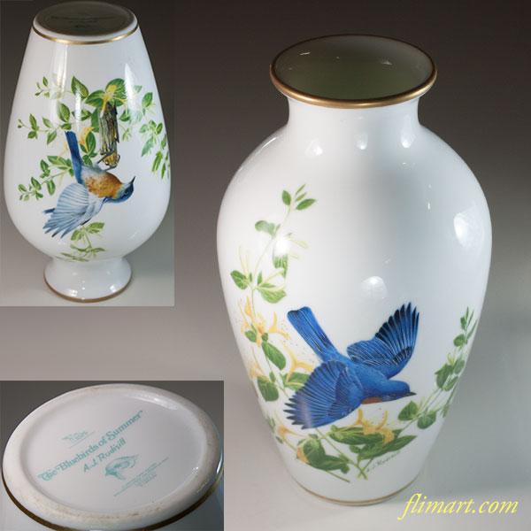 フランクリンポーセリン A.J.Rudisill 花鳥花瓶