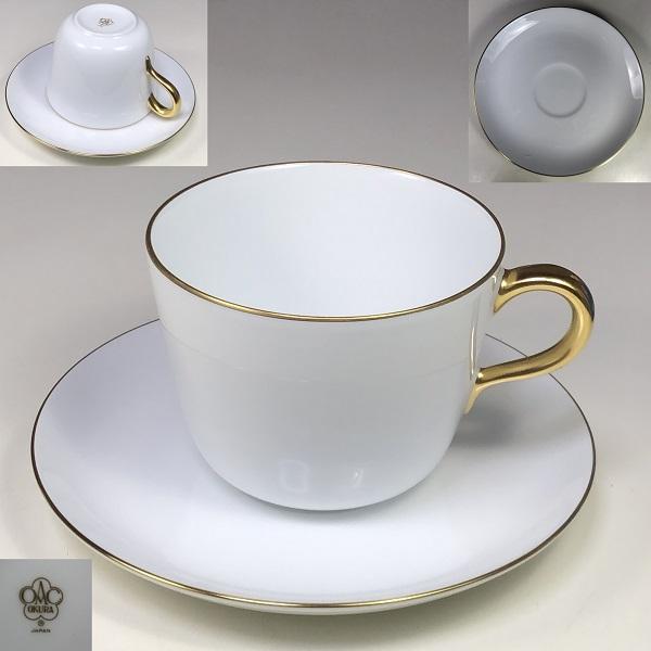 大倉陶園ゴールドラインクープシェープモーニングカップ&ソーサーT2100
