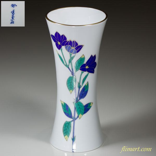 香蘭社色絵金彩桔梗文花瓶W617