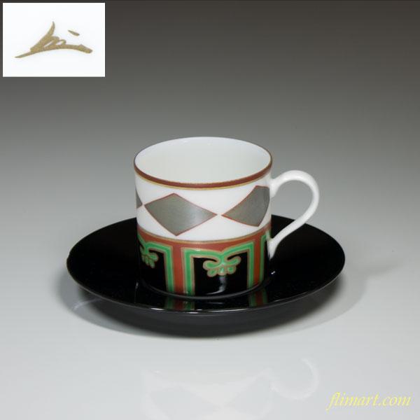 蔵珍色絵銀菱碗皿