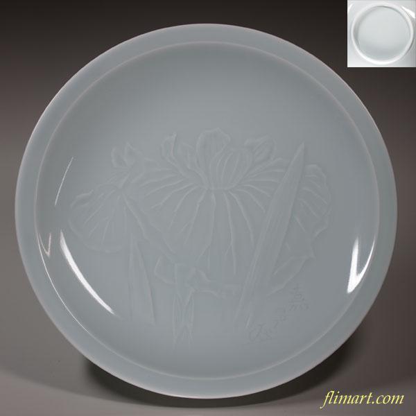 青白磁蘭柄大皿28cm