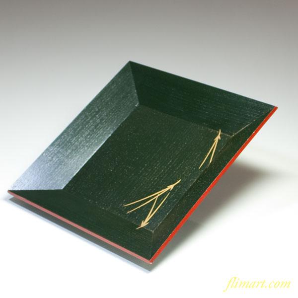 象彦松葉文緑桐材角盆
