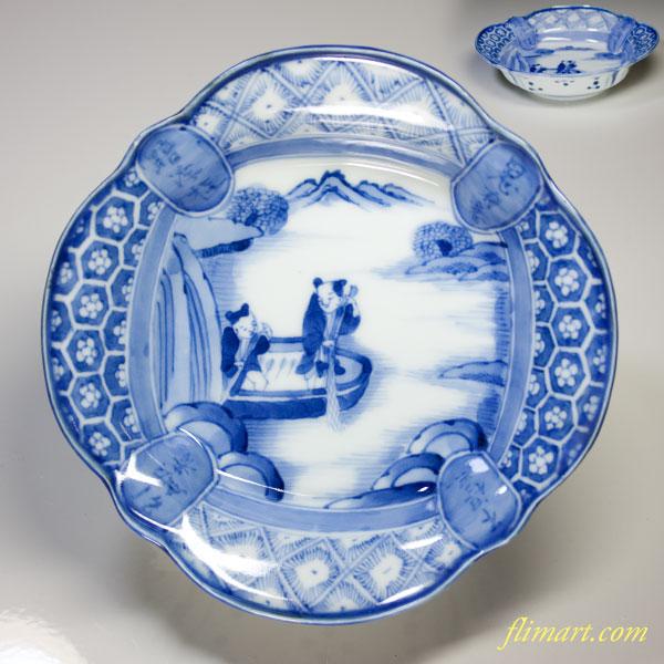 平戸嘉祥染付漁師文変形鉢