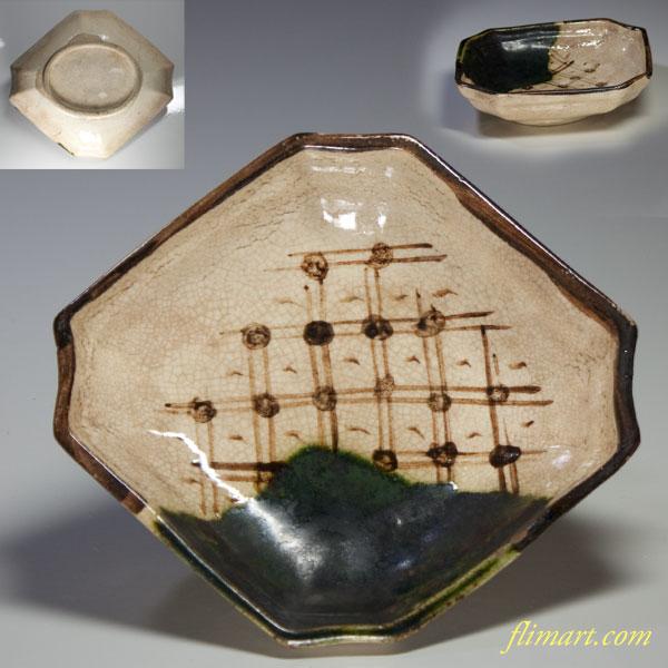 織部菱型小皿五点セット