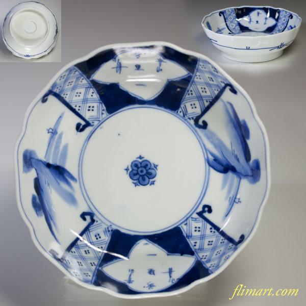 伊万里染付山水膾皿