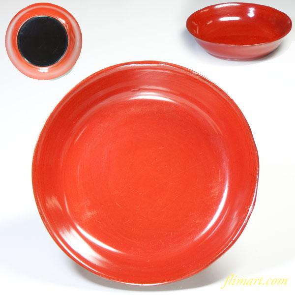 朱塗木製漆器小皿W7891