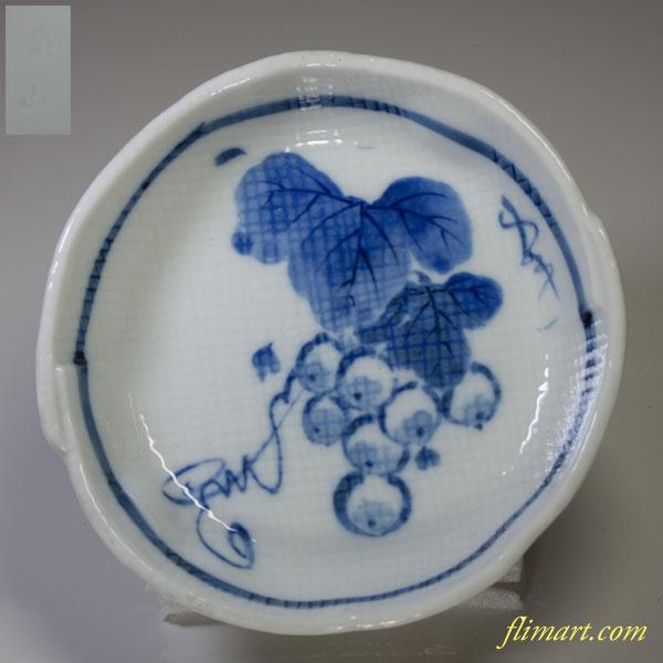 泉山染付葡萄紋小皿