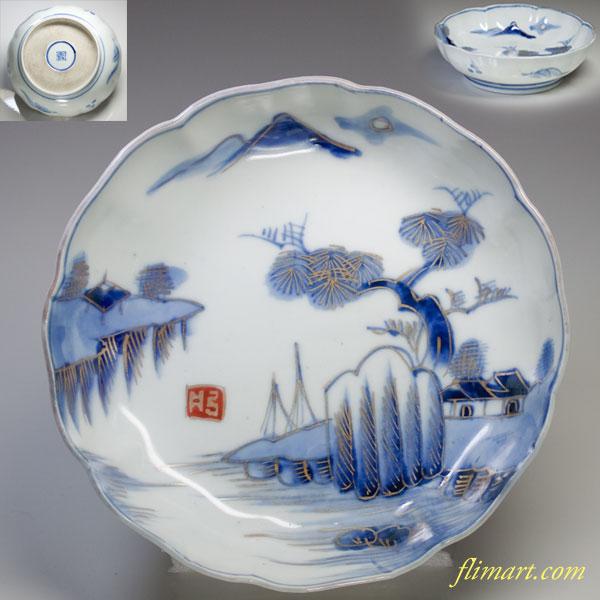 染付山水膾皿W1736