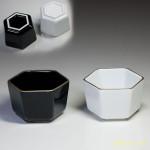 六角小鉢黒白二点セット