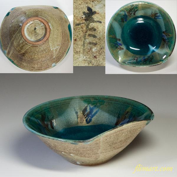 緑釉変形鉢W4987