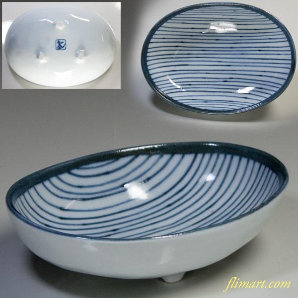 染付三つ足小鉢W1991