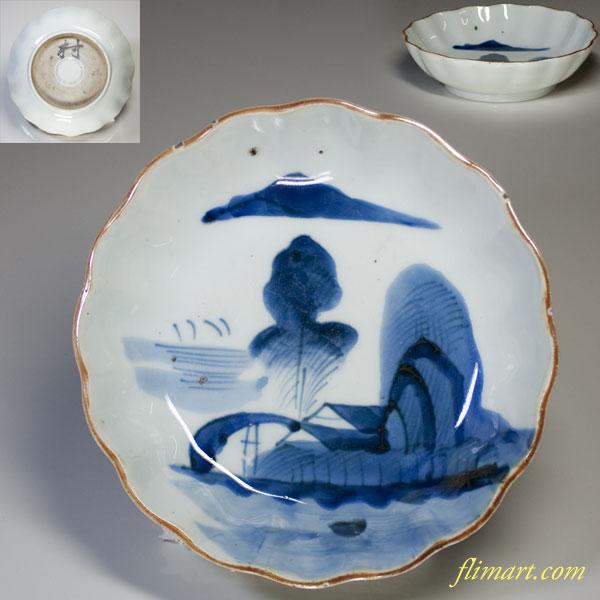 染付山水膾皿W1885