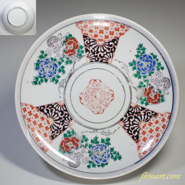 色絵八寸皿W2347
