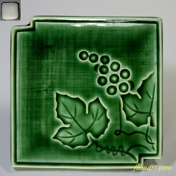 緑釉葡萄柄角皿銘々皿