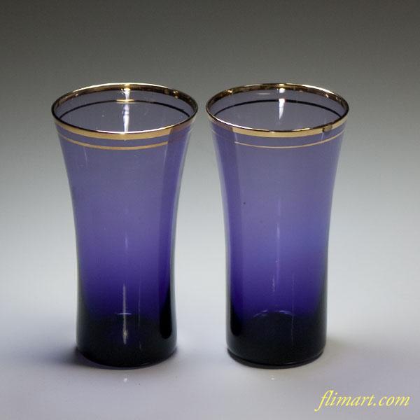 紫ガラス一口グラスペア