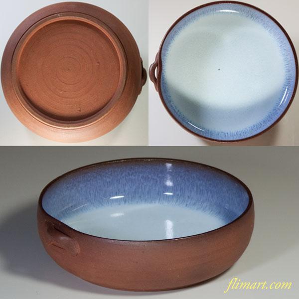 朱泥片耳小鉢