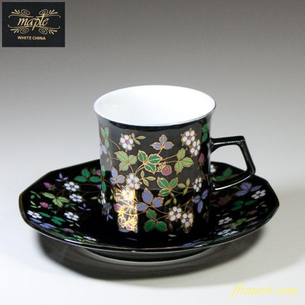 野苺柄黒碗皿