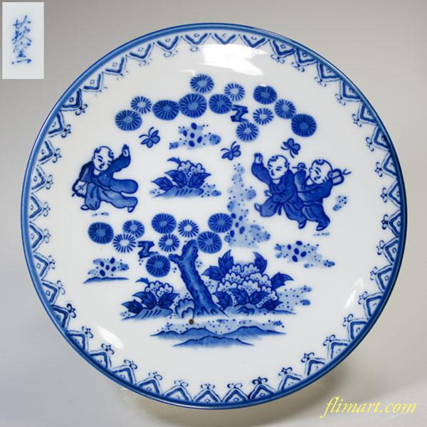 萩窯唐子五寸半皿