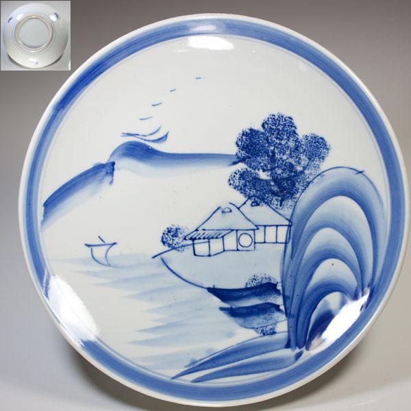 染付山水八寸皿W2106