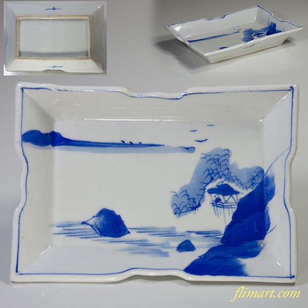 染付山水角皿W2101