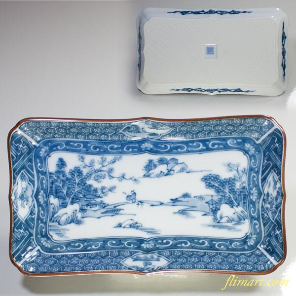 三洋陶器龍峰窯染付山水長皿