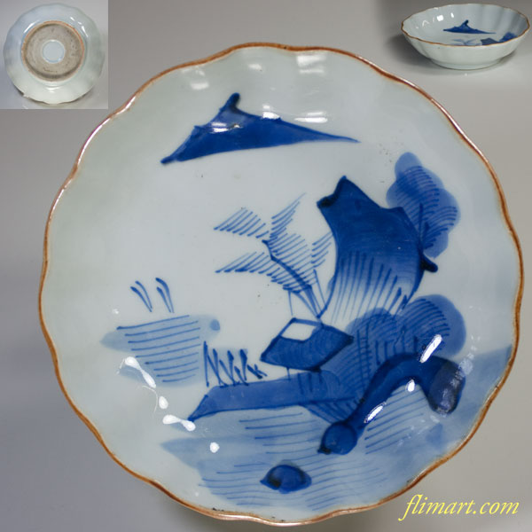 染付山水膾皿W2150