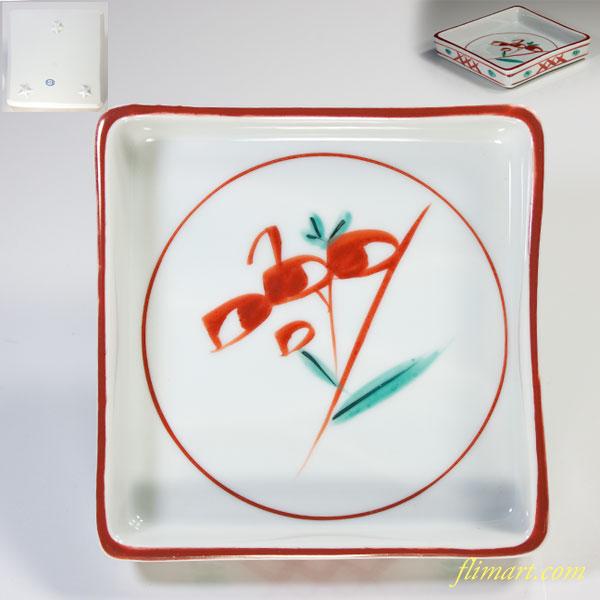 たち吉赤絵角皿