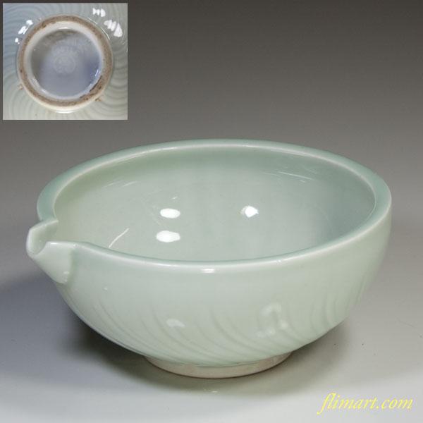 統制陶器・品28・青磁片口