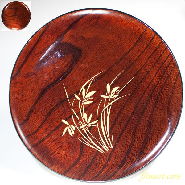 木製漆器菖蒲金彩丸盆