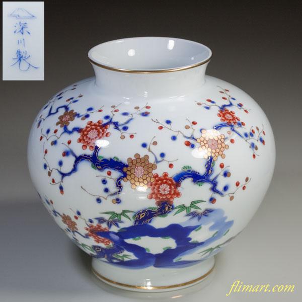 深川製磁岩梅花瓶