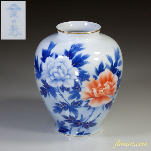 深川製磁染錦牡丹花瓶