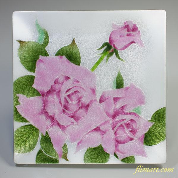 稲葉七宝薔薇柄飾皿