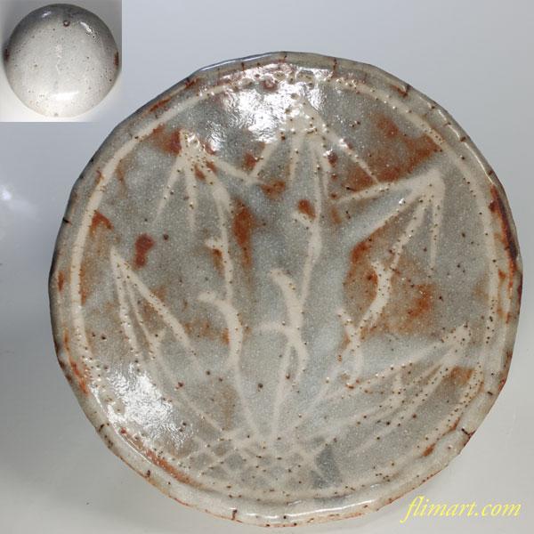 菊泉窯鼠志野五寸皿