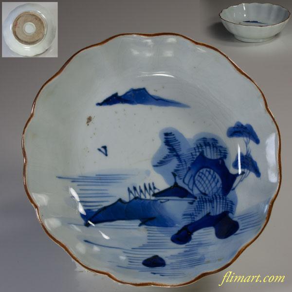 染付山水膾皿W2949