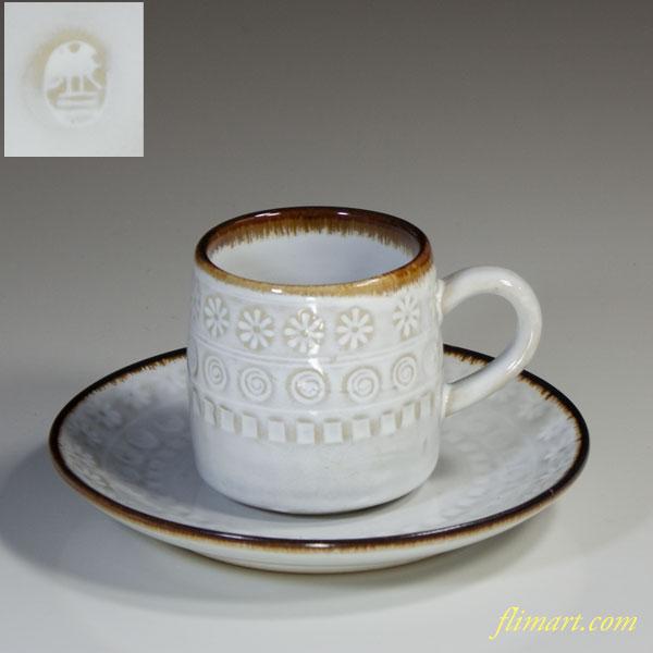 白釉三島碗皿