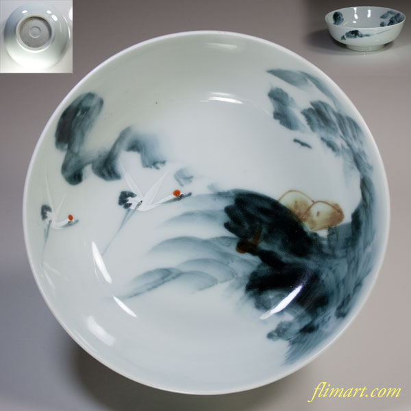 鶴文六寸半鉢