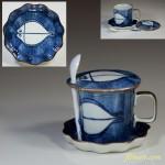 灶師染付魚蓋付茶碗蒸碗皿五客セット