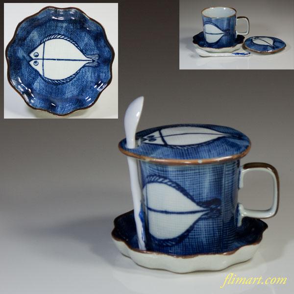灶師染付魚蓋付茶碗蒸碗皿