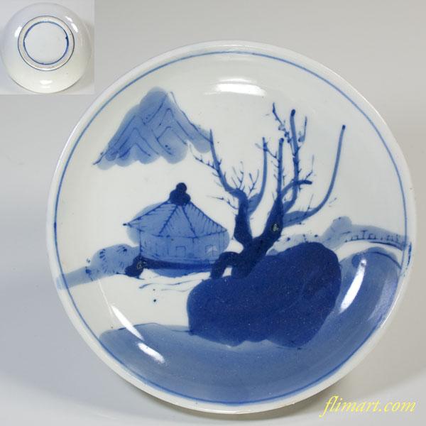 染付山水小皿W2501