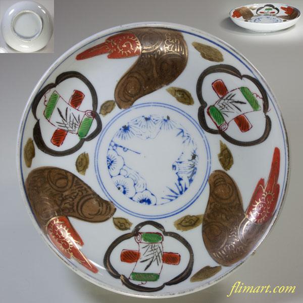 色絵金彩五寸半皿W2467