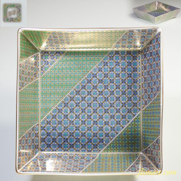 庫山窯色絵金彩角菓子鉢