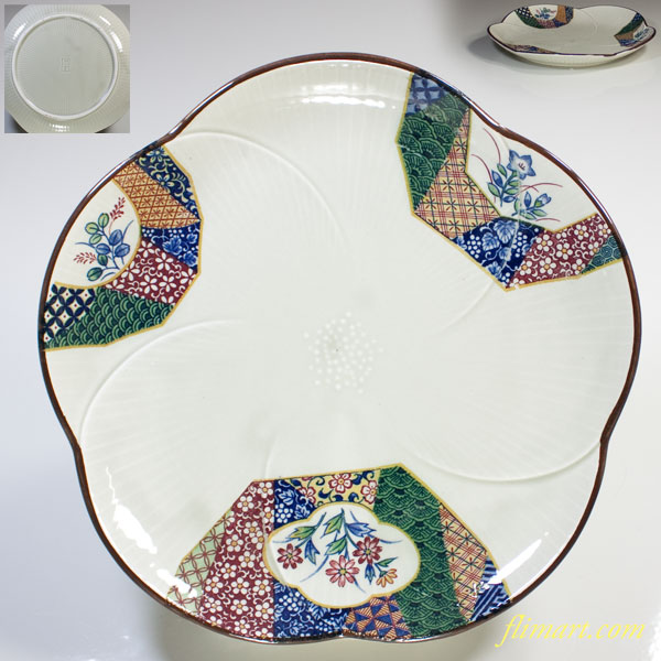 萬宝窯加賀友禅梅型七寸半皿