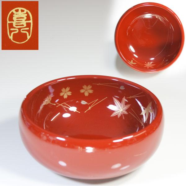 山中漆器喜八木製古代朱小鉢
