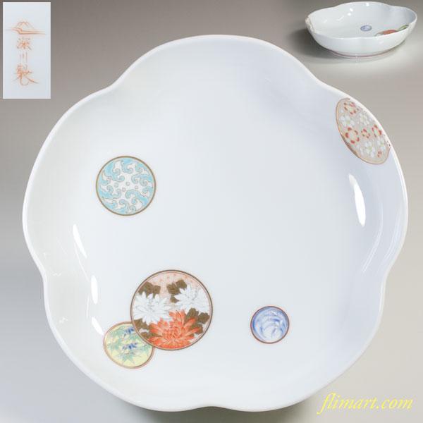 深川製磁寿赤絵七寸梅型鉢