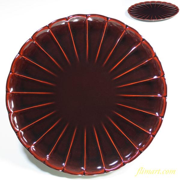 天然木加工品漆塗り六寸菊皿W2632
