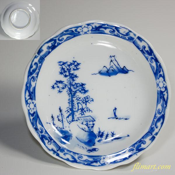 染付山水小皿W2637