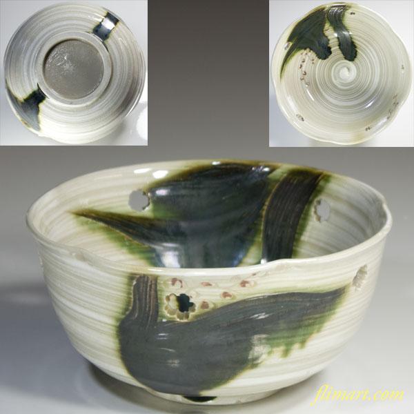 刷毛目緑釉菓子鉢